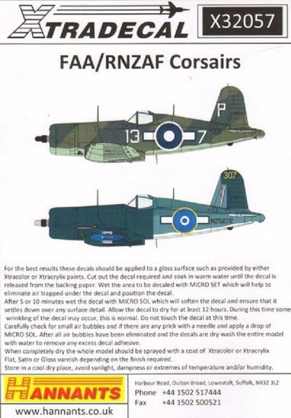 Xtradecal X32057 1/32 Vought F4U-1A Corsair Mk.II Model Decals - SGS Model Store