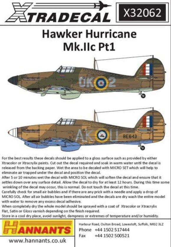Xtradecal X32062 1/32 Hawker Hurricane Mk.IIc Pt 1 Model Decals - SGS Model Store