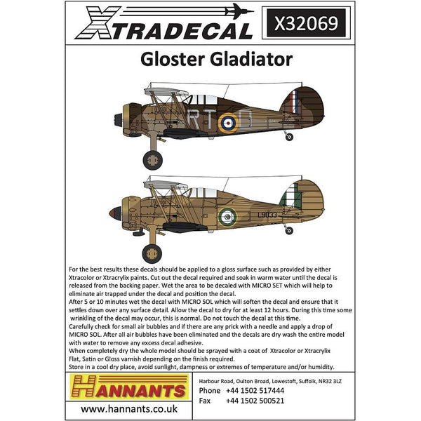 Xtradecal X32069 1/32 Gloster Gladiator Decals