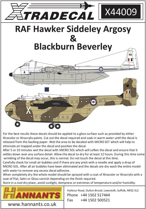 Xtradecal X44009 1/144 RAF Hawker-Siddeley Argosy & Blackburn Beverley Model Decals - SGS Model Store