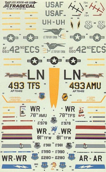 Xtradecal X48006 1/48 USAFE Part 2 EF-111A, F-111F, A-10A Model Decals - SGS Model Store
