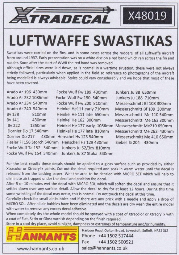 Xtradecal X48019 1/48 Luftwaffe Swastikas Model Decals - SGS Model Store
