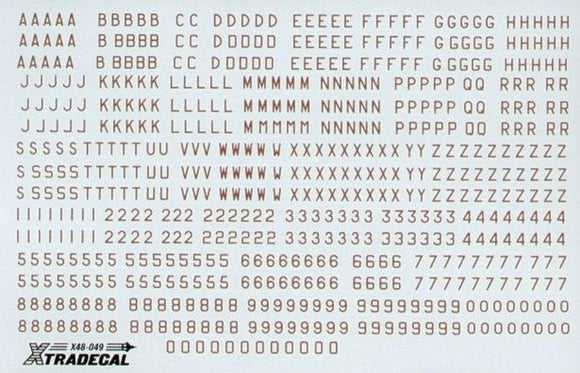 Xtradecal X48049 1/48 RAF WWII Bomber Serial Letters and Numbers 8