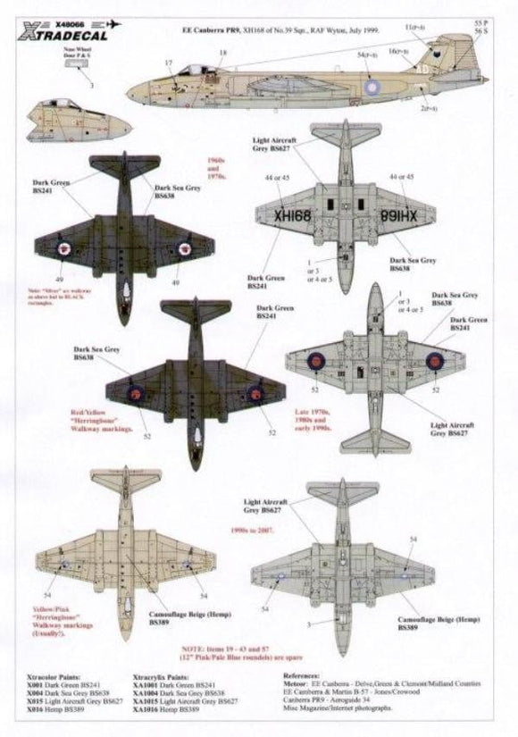 Xtradecal X48066 1/48 BAC/EE Canberra Pr.9 Model Decals - SGS Model Store