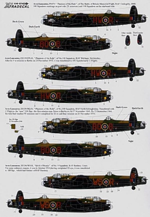 Xtradecal X48074 1/48 Lancaster Mk.I/III Ton-Up Avro Lancasters Model Decals - SGS Model Store