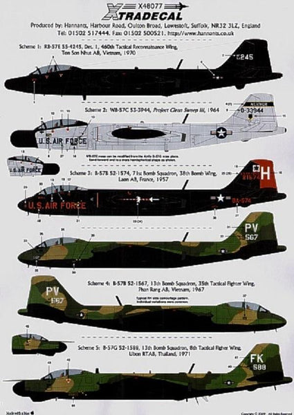 Xtradecal X48077 1/48 B-57B RB-57E WB-57C B-57G Canberra Pt 2 Model Decals - SGS Model Store