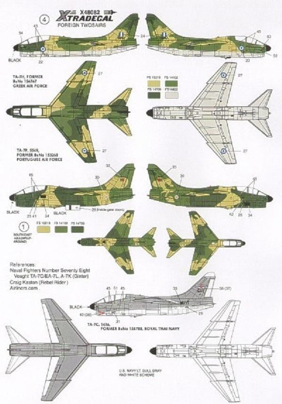 Xtradecal X48082 1/48 Vought A-7K Corsair Twosair Model Decals - SGS Model Store