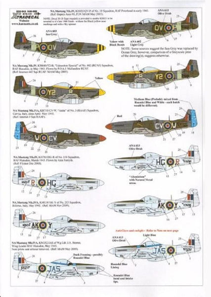 Xtradecal X48092 1/48 P-51D Mustang Mk.IV in RAF, RCAF & RAAF service - SGS Model Store