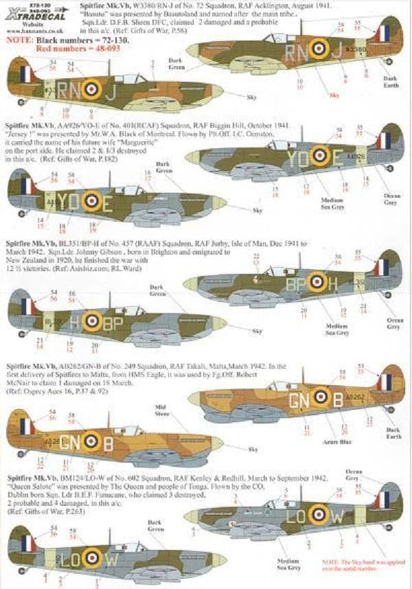 Xtradecal X48093 1/48 Supermarine Spitfire Mk.Vb Model Decals - SGS Model Store