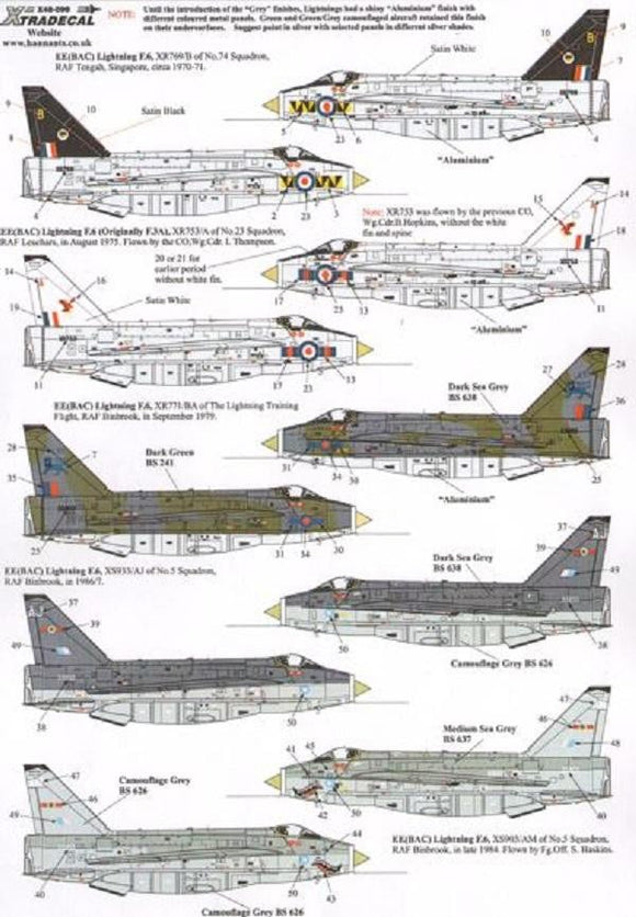 Xtradecal X48099 1/48 BAe/EE Lightning F.3A and F.6 Model Decals