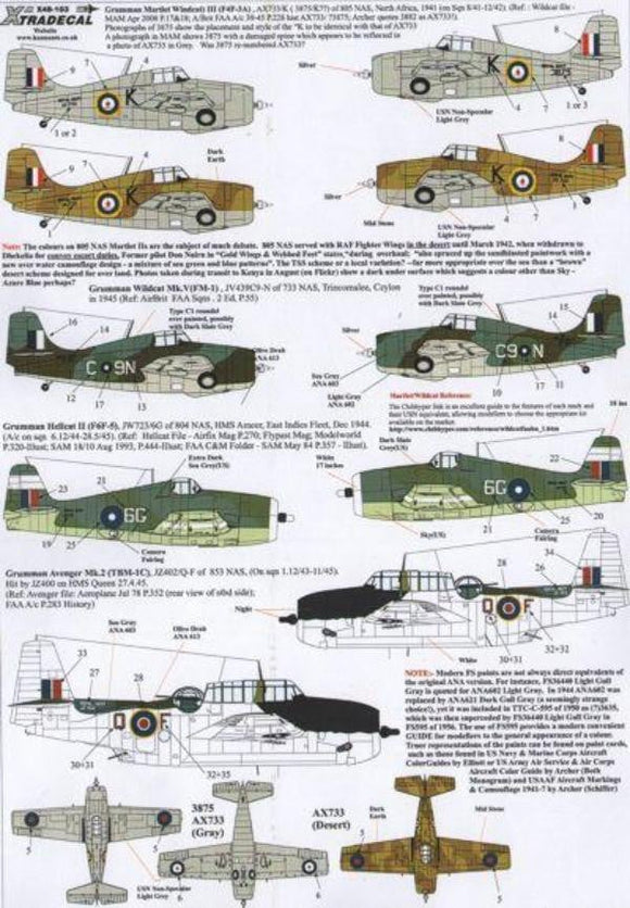 Xtradecal X48103 1/48 Yanks with Roundels Part 2 in the FAA Model Decals - SGS Model Store