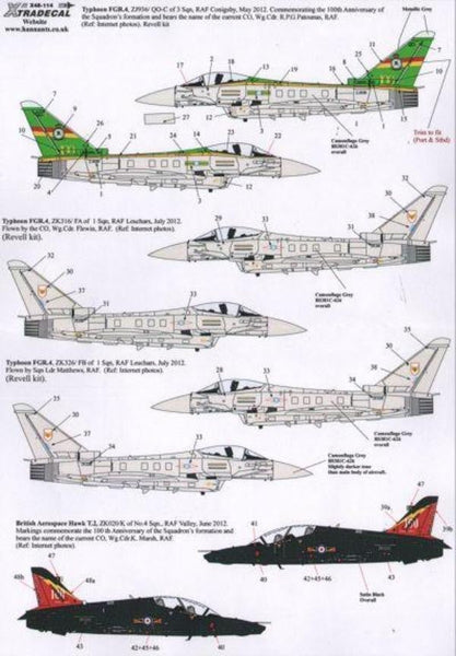 Xtradecal X48114 1/48 RAF Anniversary Update 2011/12 Pt 2 Model Decals - SGS Model Store