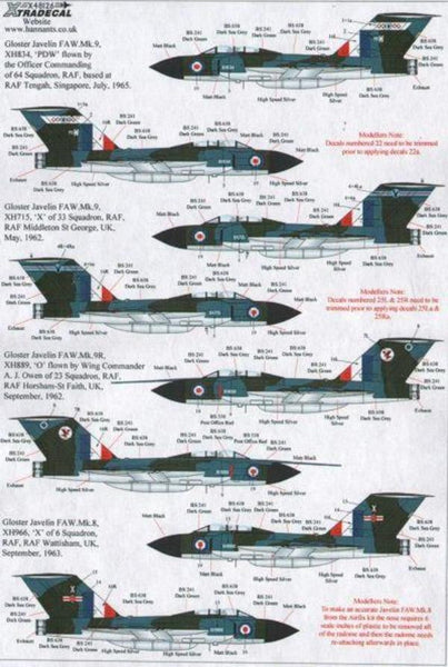 Xtradecal X48126 1/48 Gloster Javelin FAW Mk.9 Part 2 Model Decals - SGS Model Store