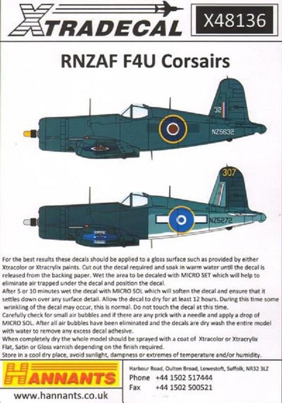 Xtradecal X48136 1/48 RNZAF F4U Corsairs Model Decals - SGS Model Store