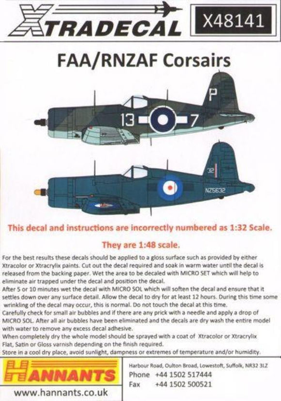 Xtradecal X48141 1/48 FAA/RNZAF F4U Corsair Model Decals - sgs-model-store-com