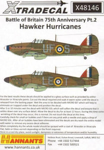 Xtradecal X48146 1/48 Hurricane Mk.I Battle of Britain 1940 Pt.2 Model Decals - SGS Model Store