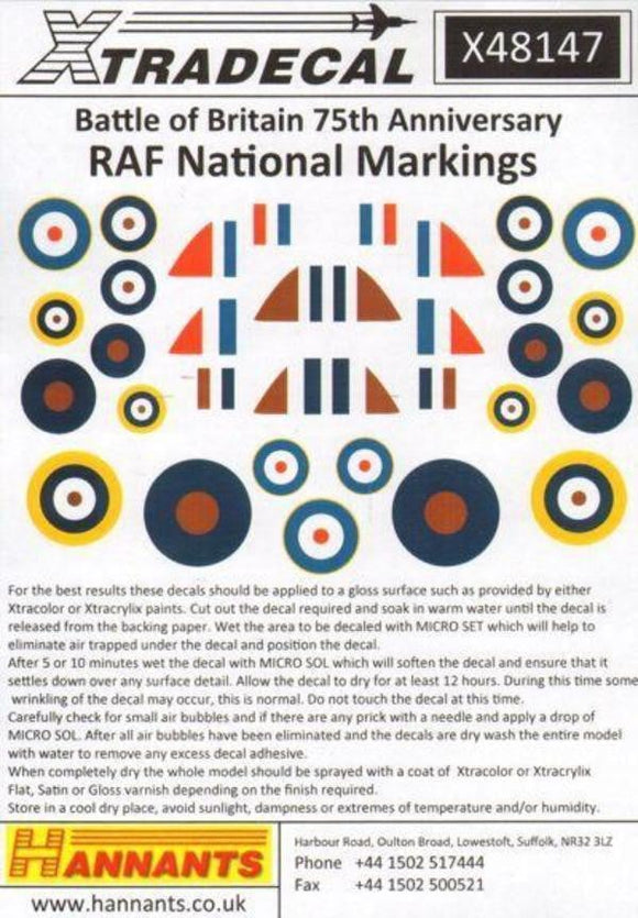 Xtradecal X48147 1/48 Battle of Britain RAF National Markings Model Decals - SGS Model Store