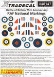 Xtradecal X48147 1/48 Battle of Britain RAF National Markings Model Decals - sgs-model-store-com