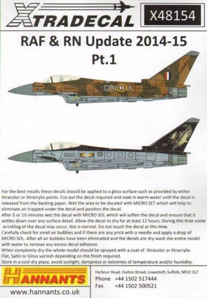 Xtradecal X48154 1/48 RAF/RN Update 2015 Model Decals - SGS Model Store