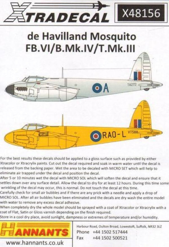 Xtradecal X48156 1/48 Mosquito T.Mk.III, B.Mk.IV, FB.Mk.VI Model Decals - SGS Model Store