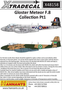 Xtradecal X48158 1/48 Gloster Meteor F.8 Collection Pt 1 Model Decals - SGS Model Store
