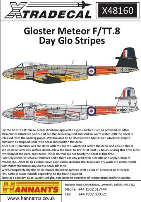 Xtradecal X48160 1/48 Gloster Meteor F/TT.8 Day Glo Stripes Model Decals - sgs-model-store-com