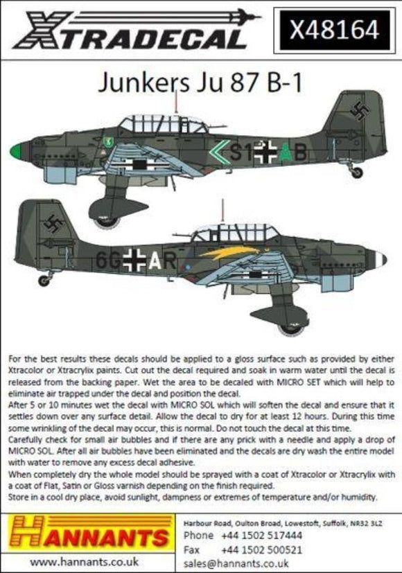 Xtradecal X48164 1/48 Junkers Ju 87B-1 Model Decals - SGS Model Store