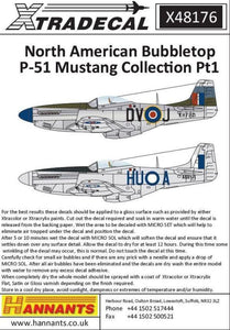 Xtradecal X48176 1/48 North American Bubbletop P-51 Mustang  Pt1 Model Decals - SGS Model Store