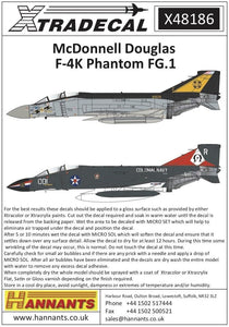 Xtradecal X48186 1/48 McDonnell-Douglas F-4K Phantom FG.1 Model Decals