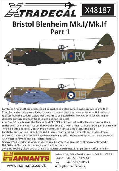 Xtradecal X48187 1/48 Bristol Blenheim Mk.I Model Decals - SGS Model Store