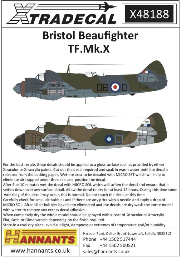 Xtradecal X48188 1/48 Bristol Beaufighter TF. Mk.X Model Decals