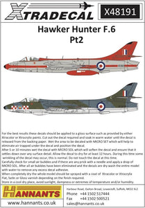 Xtradecal X48191 1/48 Hawker Hunter Mk.6 Pt 2 Model Decals