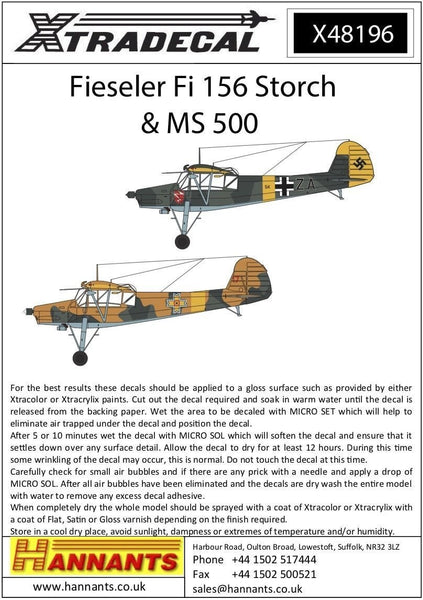 Xtradecal X48196 1/48 Fieseler Fi-156C-3 Storch Model Decals - SGS Model Store