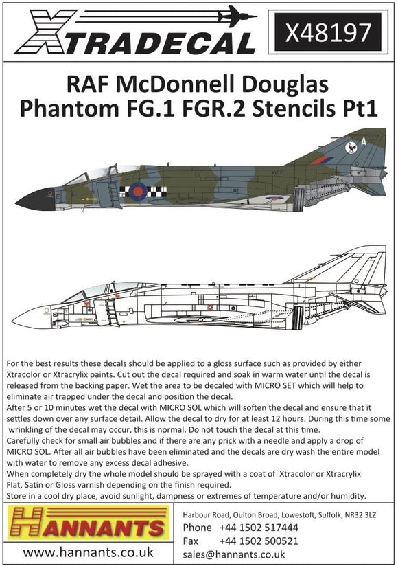 Xtradecal X48197 1/48 RAF FG.1/FGR.2 Phantom stencil data Part 1 Model Decals - SGS Model Store