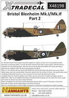 Xtradecal X48198 1/48 Bristol Blenheim Mk.I/Mk.If Part 2 Model Decals - SGS Model Store