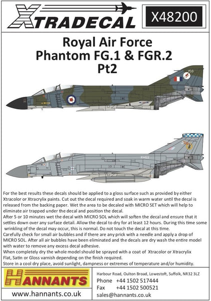 Xtradecal X48200 1/48 RAF Phantom FG.1 & FGR.2 Pt2 Model Decals - SGS Model Store