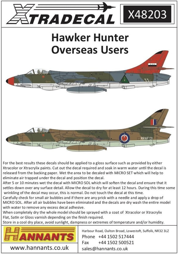 Xtradecal X48203 1/48 Hawker Hunters International Operators Model Decals
