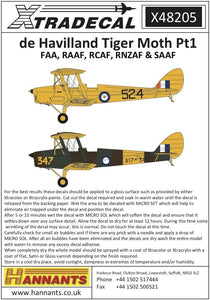 Xtradecal X48205 1/48 de Havilland DH.82a Tiger Moth Pt1 Model Decals - SGS Model Store