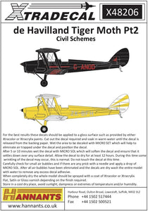 Xtradecal X48206 1/48 de Havilland DH.82a Tiger Moth Pt2 Model Decals - SGS Model Store