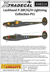 Xtradecal X48214 1/48 Lockheed P-38F/G/H Lightning Collection Pt.1