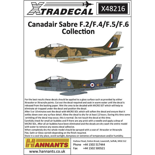 Xtradecal X48216 1/48 Canadair Sabre F.2/F.4/F.5/F.6 Collection