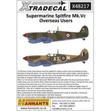 Xtradecal X48217 1/48 Supermarine Spitfire Mk.Vc Overseas Users