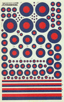 Xtradecal X72009 1/72 Post War RAF Low Vis Red/Blue Roundels Model Decals - SGS Model Store