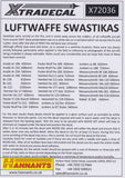 Xtradecal X72036 1/72 Luftwaffe Swastikas Model Decals - SGS Model Store