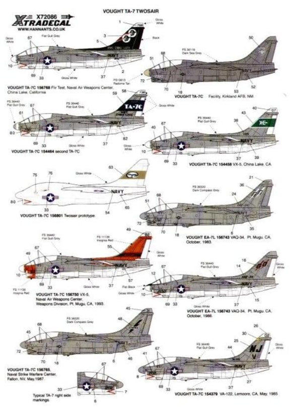 Xtradecal X72086 1/72 Vought TA-7C Corsair Twosair Model Decals - SGS Model Store