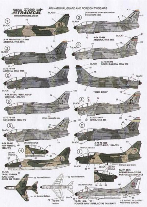 Xtradecal X72090 1/72 Vought A-7K Corsair Twosair Model Decals - SGS Model Store