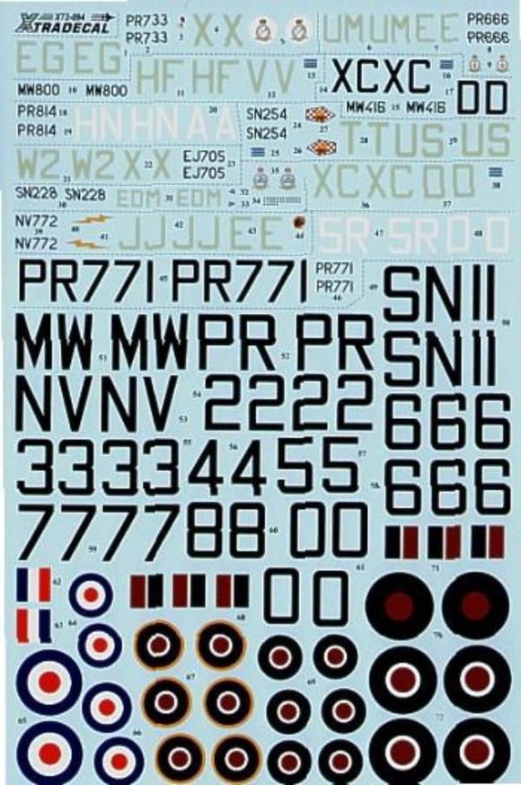 Xtradecal X72094 1/72 Hawker Tempest Mk.II and Mk.V Model Decals - SGS Model Store