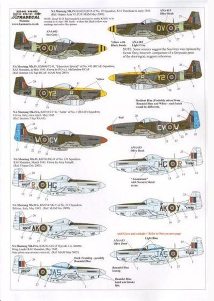 Xtradecal X72131 1/72 P-51D Mustang Mk.IV in RAF service Model Decals - SGS Model Store