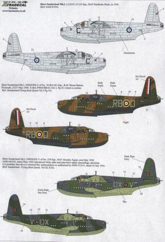 Xtradecal X72163 1/72 Short Sunderland Mk.I Model Decals - SGS Model Store