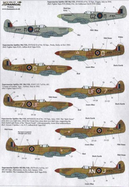 Xtradecal X72177 1/72 Supermarine Spitfire Mk.VIII Model Decals - SGS Model Store